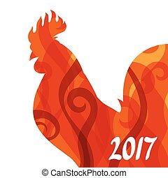 chino, símbolo, saludo, gallo, 2017, calendario, tarjeta