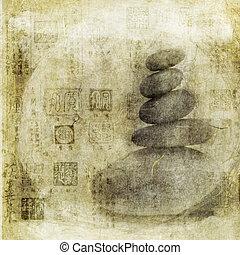 chino, sellos, piedras