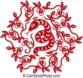 chino, serpiente, símbolo, silueta