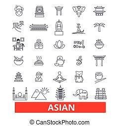 chino, strokes., japonés, diseño, asiático, señales, concept., aislado, blanco, símbolo, plano, lineal, pareja, editable, ilustración, icons., plano de fondo, asia, línea, cultura, gente, vector, indio