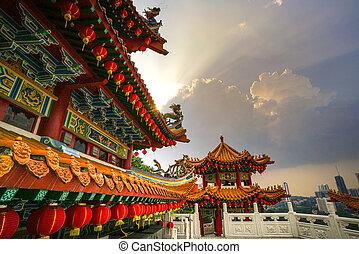chino, techo, malasia, kuala, templo, lumpur
