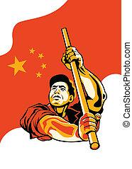chino, trabajador