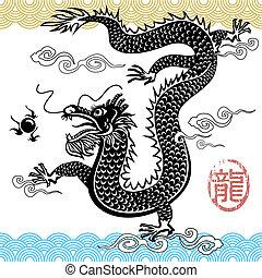 chino, tradicional, dragón