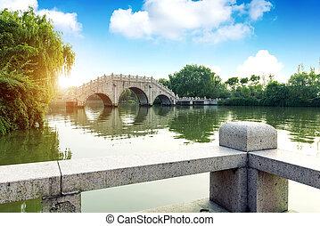 chino, tradicional, edificio, bridges.