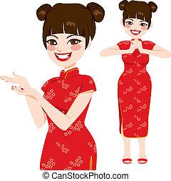 chino, tradicional, mujer