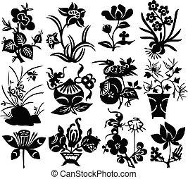 chino, -, tradicional, vector, diseño, papercut