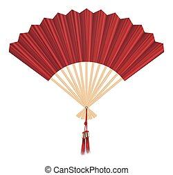 chino, ventilador, vector, en, un, fondo blanco