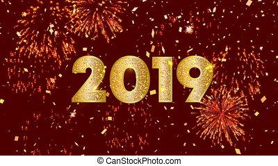 chinois, 2019, vidéo, fond, année, nouveau, carte