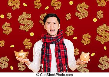 chinois, asiatique, projection, célébrer, banque, or, nouvel homme, year., porcin, jeune