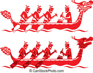 chinois, bateau, concurrence, dragon