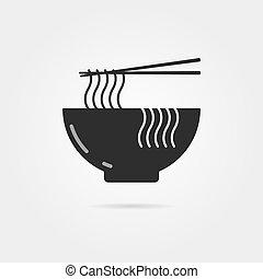 chinois, bol, noir, ombre, nouilles, icône