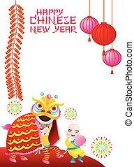 chinois, cadre, danse, lion, année, nouveau