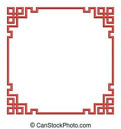 chinois, cadre, modèle, illustration, frontière, rouges, 3d