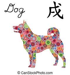 chinois, coloré, chien, signe, zodiaque, fleurs