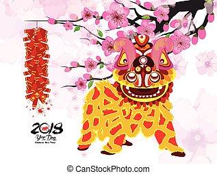 chinois, danse, pétard, lion, année, nouveau