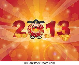 chinois, dieu, année, argent, nouveau, 2013