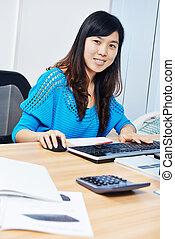 chinois, directeur bureau, femme