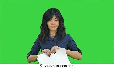 chinois, docteur, positif, chroma, écran, conversation, appareil photo, clef verte