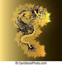 chinois, dragon or, sur, a, lumineux, or, fond