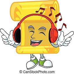 chinois, mascotte, rouleau, musique, or, dessin animé, caractère, conception, écoute