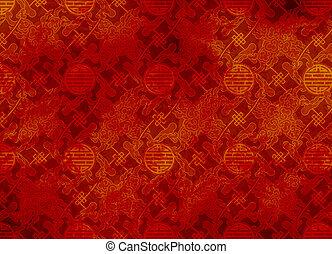 chinois, modèle, papier peint, -, filigrane, lisser, fond, textured, ou, rouges