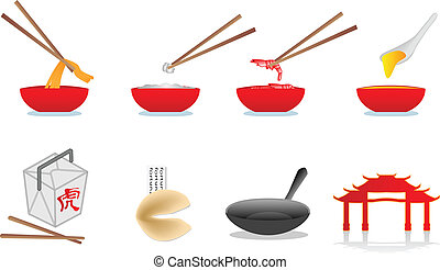 chinois nourriture, illustration