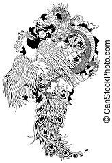 chinois, phénix, dragon