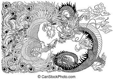 chinois, phénix, dragon, perle, noir, blanc, jouer