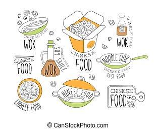 chinois, promo, étiquettes, collection, wok, nouilles