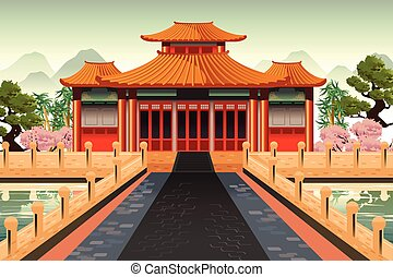 chinois, temple, fond