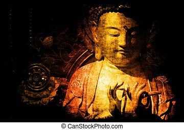 chinois, temple, résumé, fond, papier peint