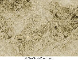 chinois, vendange, papier peint, -, filigrane, fond, textured, modèle, rugueux, ou