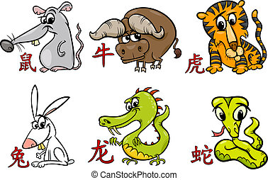 chinois, zodiaque, horoscope, signes