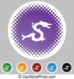 chinois, zodiaque, signe, icône