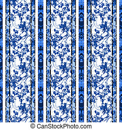 Chinoiserie Striped Vintage Floral Collage - Chinoiserie...