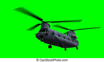Chinook CH-47 flying on green - Render of Chinook CH-47...