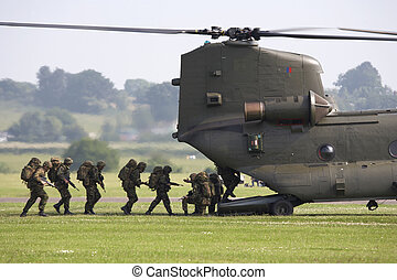 chinook helicopter airlifting troops at raf cosford shifnal...