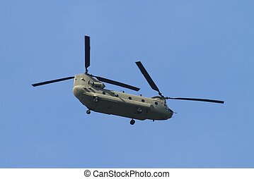 Chinook Helicopter - Flying through the sky in Missouri.