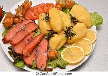Chinook salmon (LAT. Oncorhynchus tshawytscha) smoked with...