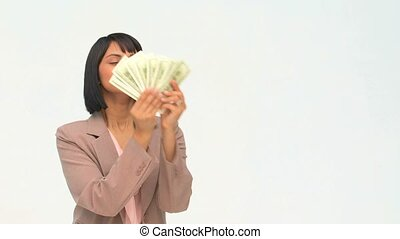 Chinses business woman showing off her cash