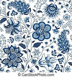 Chintz fabric - Chintz seamless pattern. Blue floral ...