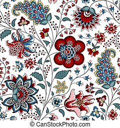 Chintz fabric - Chintz seamless pattern. Floral background. ...