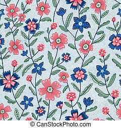 Chintz flowers vector seamless pattern