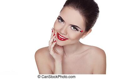 chiodo, colpo, bellezza, colorito, labbra, trucco, isolato, allegro, fondo., bianco, studio, manicured, ritratto, polish., woman., ragazza, rosso
