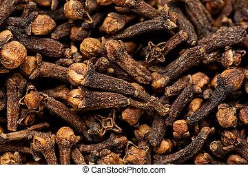 chiodo di garofano, dryed, su, struttura, frescamente,...