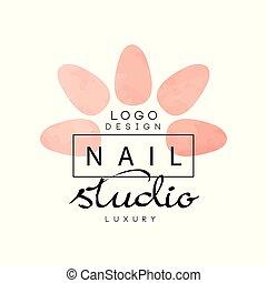 chiodo, lusso, studio, logotipo, disegnare elemento, per,...