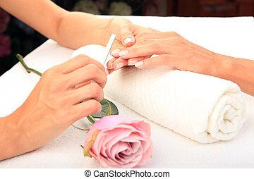 chiodo, salone, donna, ricevimento, manicure