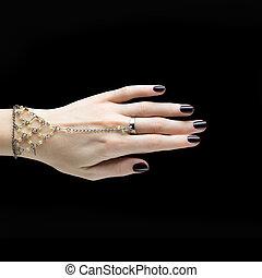 chiodo, scuro, metallina, nero, manicure, manicured, polish.