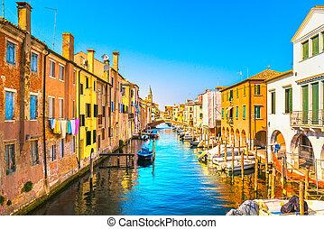 chioggia, 町, 中に, ベニス市民, 礁湖, 水, 運河, そして, church., veneto, イタリア