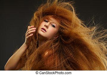 chiomato, donna, riccio, rosso-dai capelli